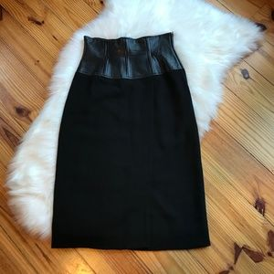 Vintage Anne Klein Leather High Waist Skirt 8